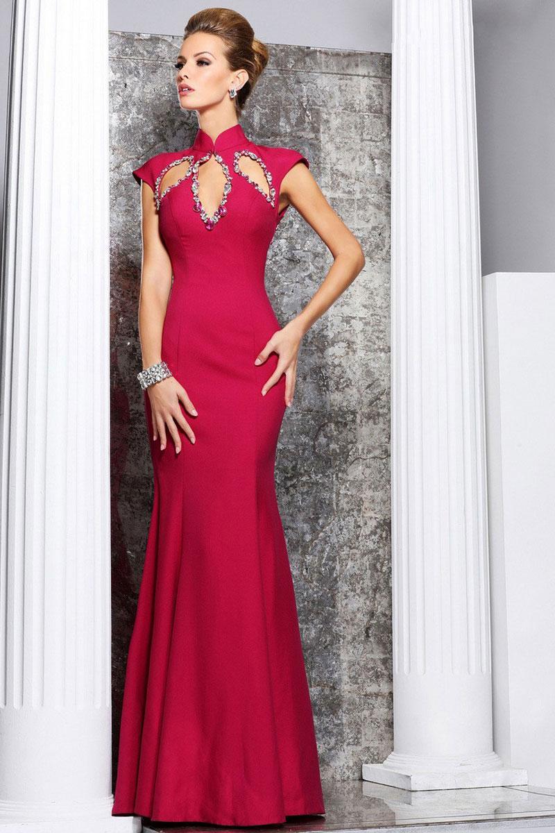 زفاف - empire high neck cap sleeve column silk prom dress - Cheap-dressuk.co.uk