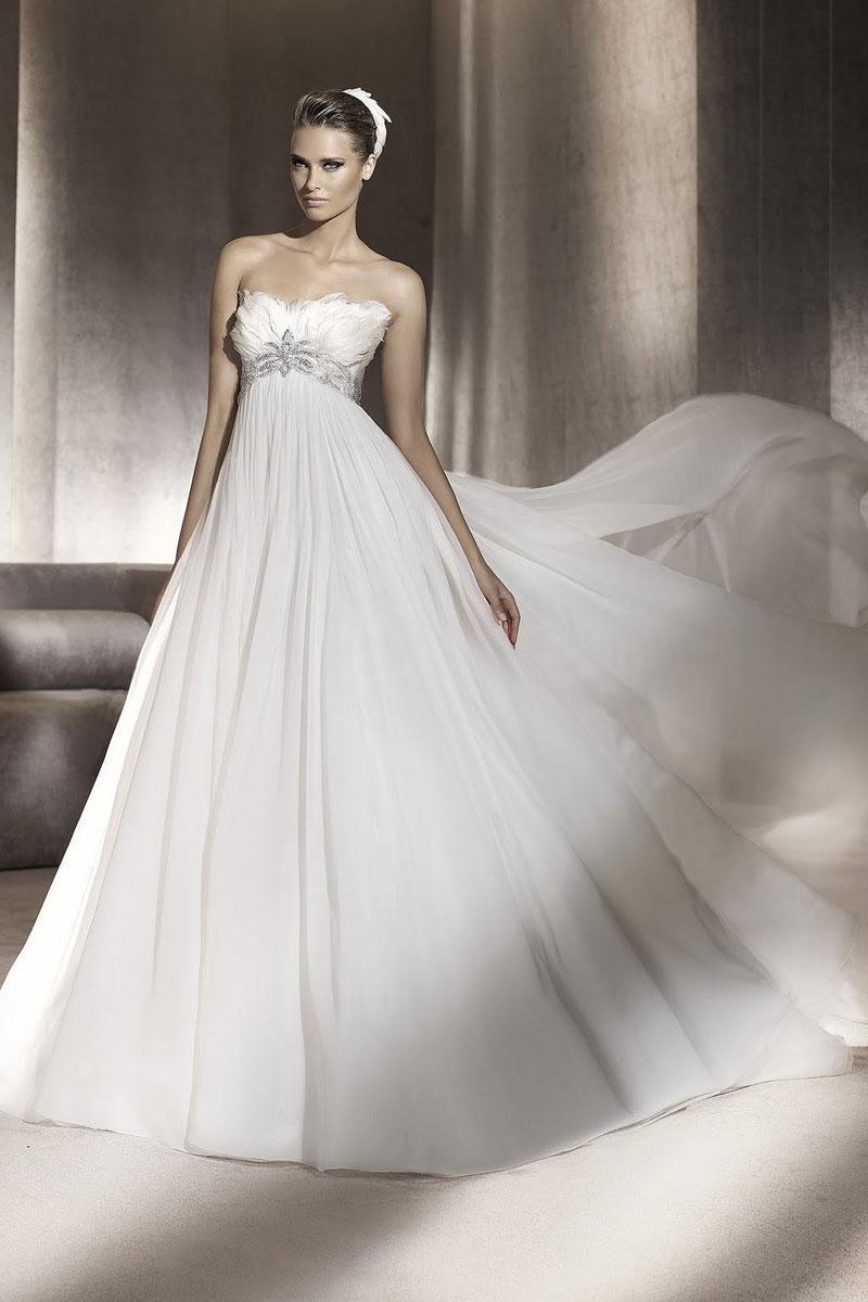 Empire strapless a line chiffon wedding dress cheap for Empire wedding dresses uk
