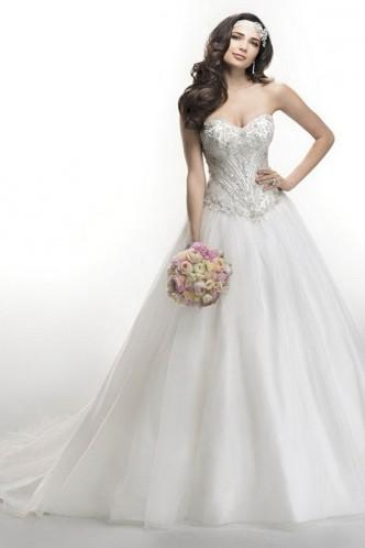 Mariage - Charming Crystals Sweetheart White A-Line Organza Bridal Wedding Dress