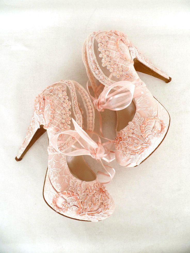 Blush Embroidered Lace Bridal Shoes With Ribbons 5 Heels Pink Bridesmaids