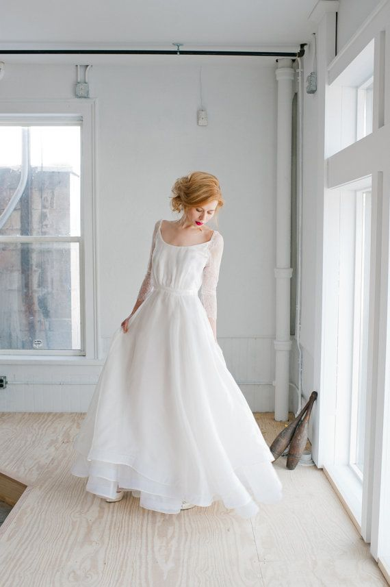 Свадьба - Rowan Wedding Dress; Handmade Bridal Dress, Gorgeous Gown With Tiered Layers Of Silk Organza With Lace Sleeves