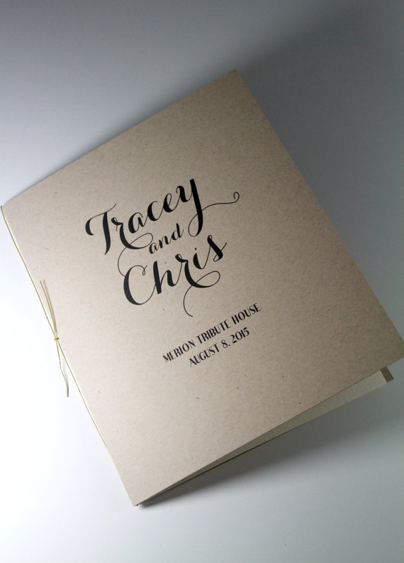 kraft paper ceremony program printed programs rustic wedding