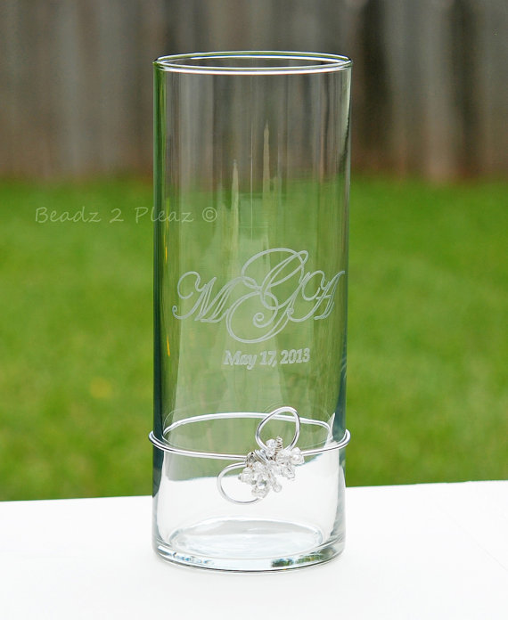 Hochzeit - Engraved Glass Unity Candle Holder And SWAROVSKI Crystal Embellishment CUSTOM PERSONALIZED, Modern Wedding Decor