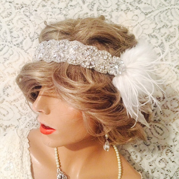 Mariage - bridal headpiece bridal headband GATSBY headpiece Gatsby headband hair accessories ivory 1920's wedding headband bridal accessories flapper