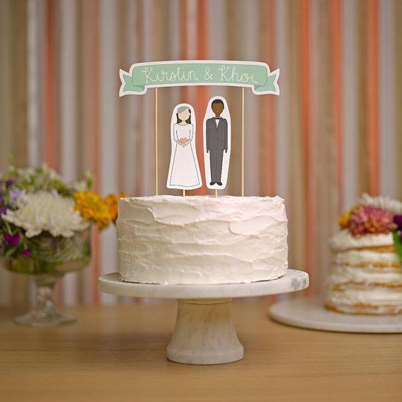 Wedding - Wedding Cake Topper Set - Custom Cake Banner No. 3 / Bride and/or Groom Cake Toppers