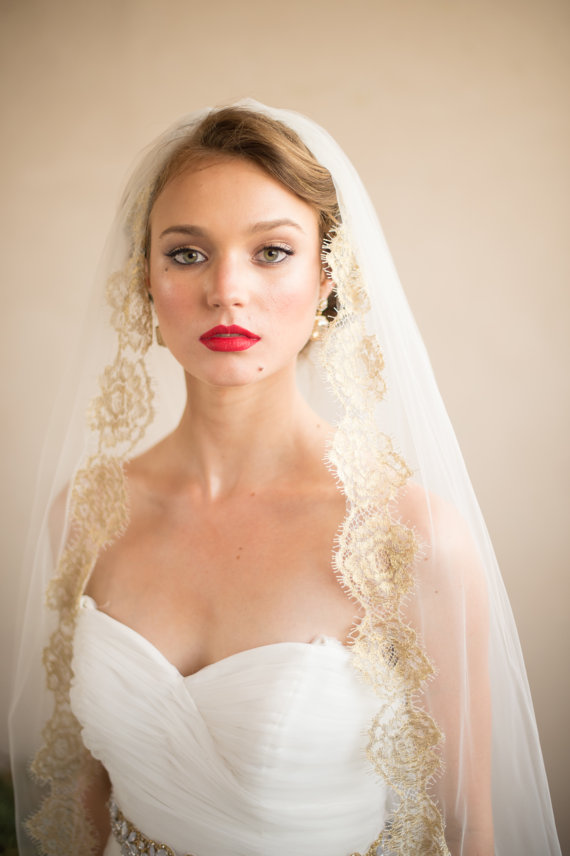Hochzeit - GOLD VEIL- Hair Accessories Wedding Veil- French Chantilly ISABELLA Gold Lace Bridal Veil from Camilla Christine