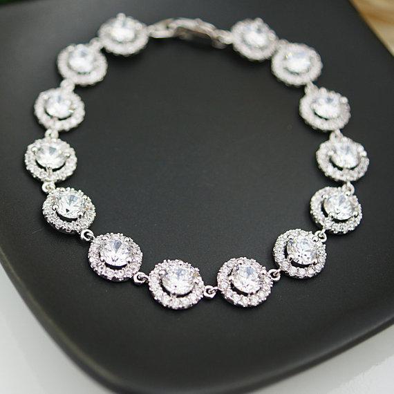 زفاف - Wedding Jewelry Bridal Jewelry Bridesmaids Gift Bridal Bracelet Bridesmaid Bracelet Cubic Zirconia Halo style Bracelet