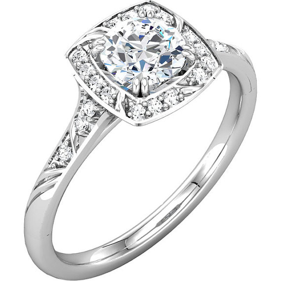 Mariage - 1.0  ct Forever Brilliant Moissanite Solid 14K White Gold Diamond Sculptural-Inspired Engagement Ring - ST232071