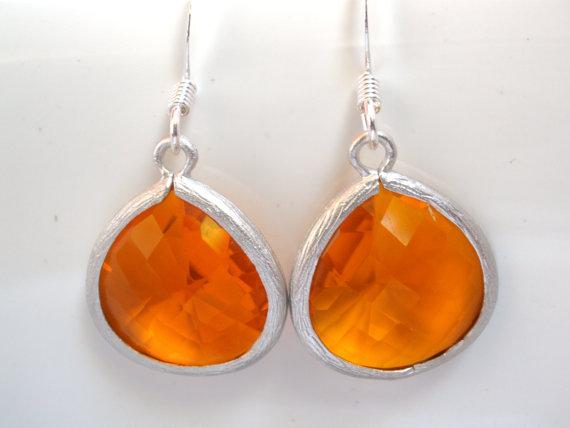 Wedding - Orange Earrings, Silver Earrings, Silver Orange Earrings, Tangerine Earrings, Bridesmaid Earrings, Bridal Earrings Jewelry, Bridesmaid Gift