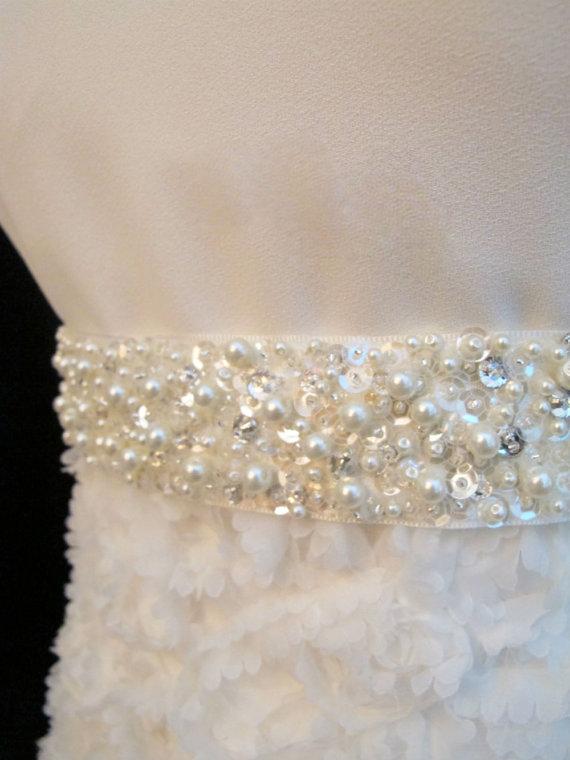 Wedding - Jeweled Belt Bridal Sash Pearl Rhinestone Wedding Hand Beaded Statement Sashes