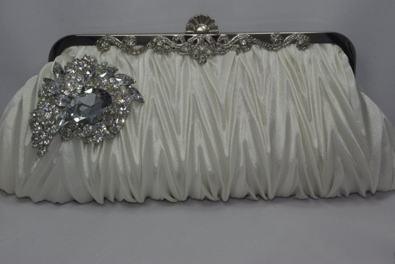 Ivory Satin Crystal Wedding Handbag Bridal Clutch Purse Light Bride