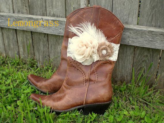 TAN BEIGE Feather Boot Bracelet