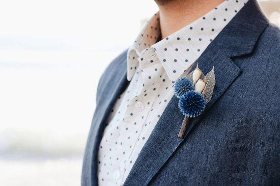 Свадьба - Blue Echinops Boutonnière