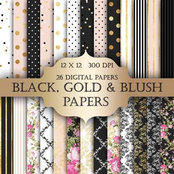 Gold Foil Shabby Chic Digital Papers