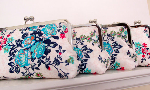 Wedding - DESIGN YOUR SET of clutches for your bridesmaids Bridesmaid gifts for Bridesmaid Wedding Attendants