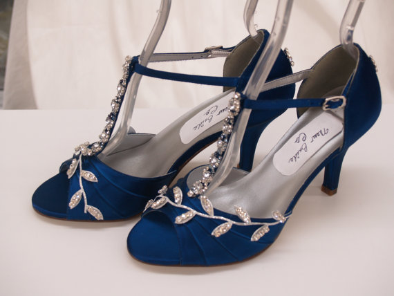 Mariage - Blue Wedding Shoes Royal-Blue with Silver Swarovski Crystals