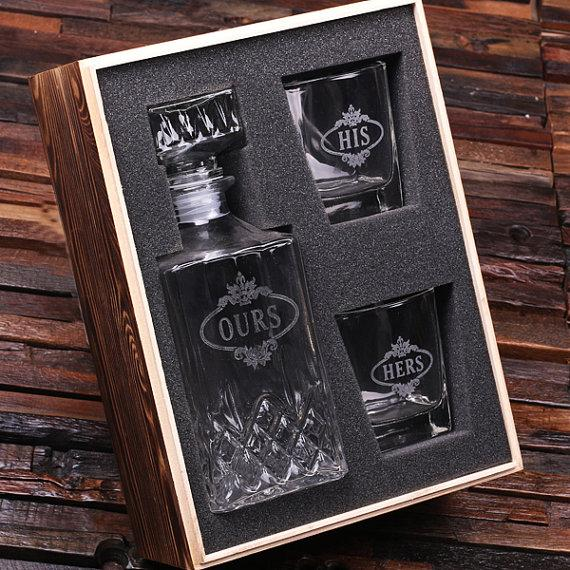 Personalised Man Cave Gifts : Personalized engraved etched scotch whiskey decanter