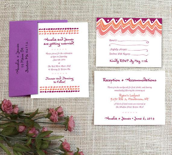Mariage - Circus Wedding Invitation & RSVP Postcard Suite By Peachwik - Peachwik Petites - PP2 - Affordable Invites - whimsy wedding invites
