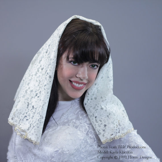 Mariage - Bridal Mantilla Veil Medium Length Double Layer Detachable Ivory Gold