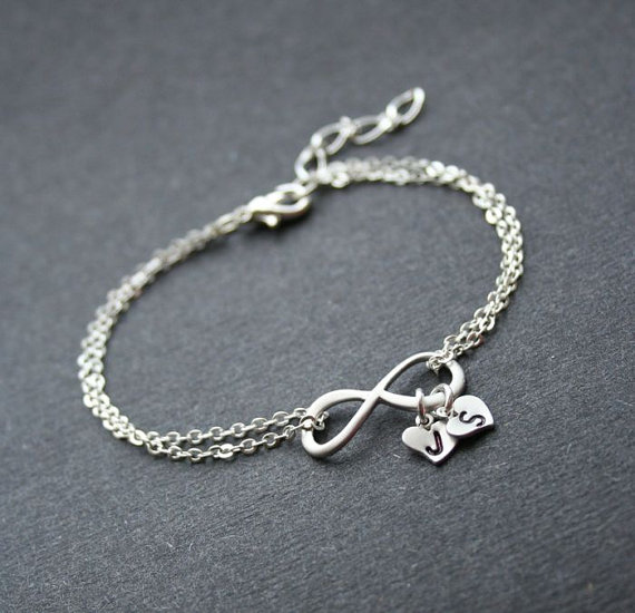 Personalized Inifinity Silver Infinity Heart Bracelet Friendship With Initials Wedding Jewelry Sterling