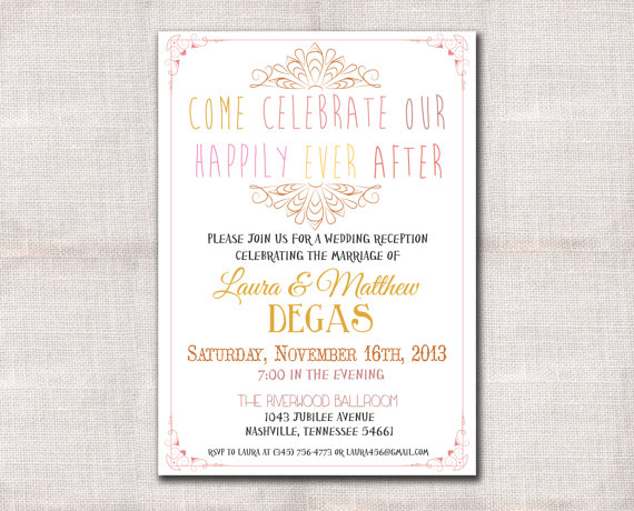 Mariage - Wedding Reception invitation custom printable 5x7