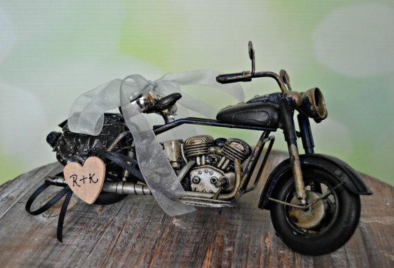 Motorcycle Art Ring Holder Pillow Bearer Harley Davidson Bride Groom Rider Themed Wedding Cake Topper Custom