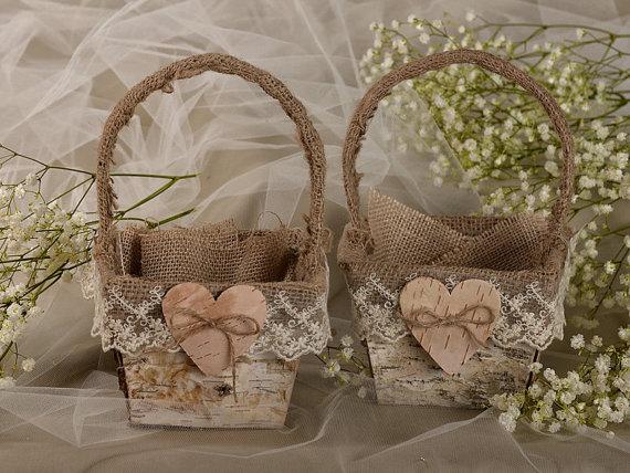 Set Flower Girl Natural Birch Bark Baskets 2 Burlap