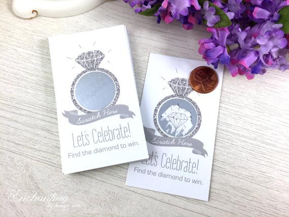 زفاف - 10 Silver Glitter Scratch Off Cards - Bridal Shower Game - Bachelorette Party Games