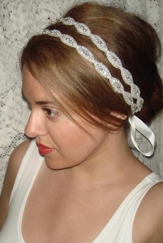 زفاف - Wedding Headpiece, headband- Athena, rhinestone Headband, Wedding Headband, Bridal Headband, Bridal Headpiece, Accessories, Wedding, Tie on