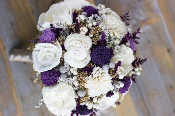 Purple, Lavender , Ivory, Winter Bouquet, Sola Flower Bridal Bouquet ...