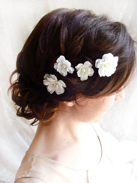 White Flower Hair Pins White Bridal Hair Accessories Fallen Stars