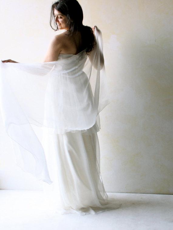 Свадьба - Bridal shawl, wedding shawl, silk shawl, wedding scarf, wedding sash, silk sash, chiffon scarf, chiffon shawl, bridal wrap, white stole