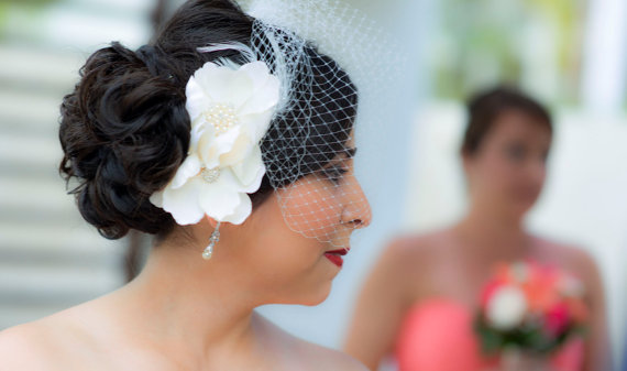 Wedding - Ivory Birdcage Veil- Large Flower Fascinator-Wedding Headpiece