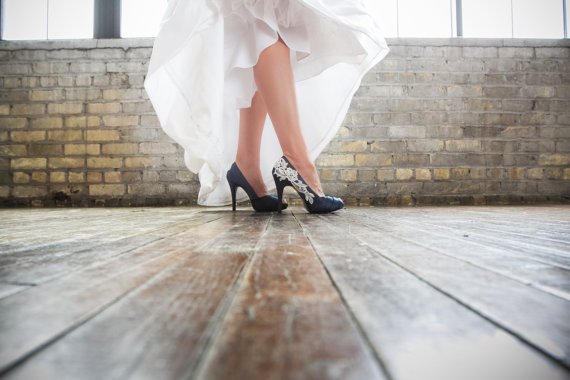 Hochzeit - Bridal Shoes. Navy Blue Wedding Shoes, Navy Blue Heels, Blue Bridal Heels, Wedding Heels with Ivory Lace. US Size 7