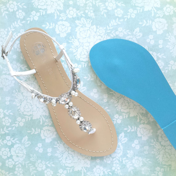cee9c3129 Wedding Sandals Shoes for Beach or Destination with Oval Jewel Crystal and  Pearls and Something Blue Sole