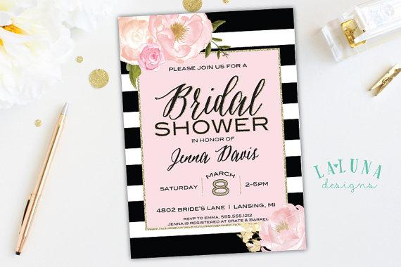 زفاف - Bridal Shower Invitation, Floral Black & White Stripe Bridal Shower Invite, Pink and Gold Glitter Bridal Shower, Printable