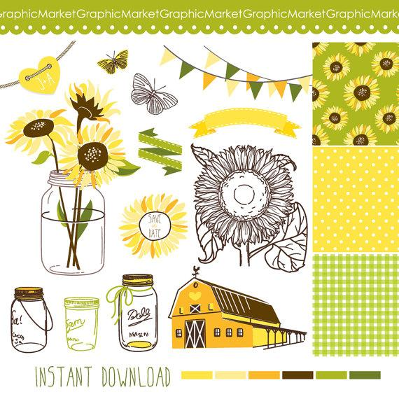 Mariage - Sunflowers, Mason Jars and digital papers - Clip art for scrapbooking, barn wedding invitations, Rustic farm, Southern, Small Commercial Use