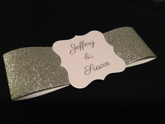 Wedding - Invitation Glitter Belly Bands & Custom Cards - Set of 10