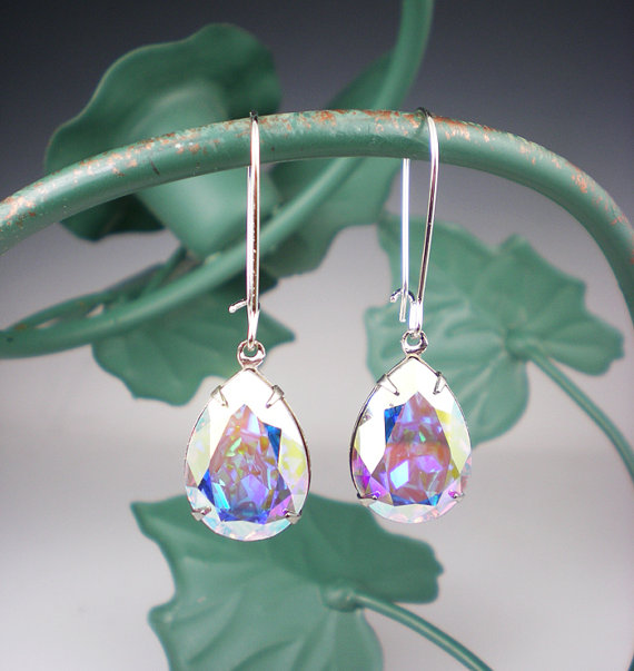 Crystal Aurora Borealis Rhinestone Earrings Wedding Jewelry Bridesmaid Swarovski Cab