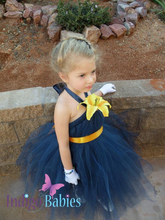 زفاف - Tutu Dress, Flower Girl Dress, Navy Blue Tulle, Golden Ribbon, Yellow Lily, Fabric Flower, Portrait Dress, Wedding Flowergirl Dress