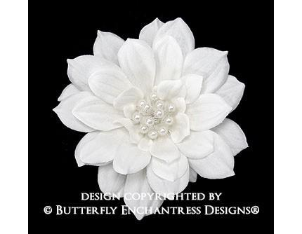 Mariage - Pearl Diamond White Mini Autumn Dahlia Bridal Hair Flower Comb