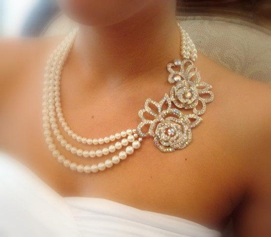 Wedding - Bridal statement necklace, Bridal pearl necklace, Swarovski crystal necklace, Wedding jewelry, Crystal necklace, Vintage glamour necklace