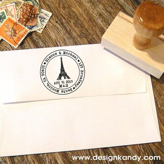 Mariage - Paris Eiffeltower Custom Address Stamp with hearts for Save the Dates & Wedding Invitations with a typewriter font, your date and initials