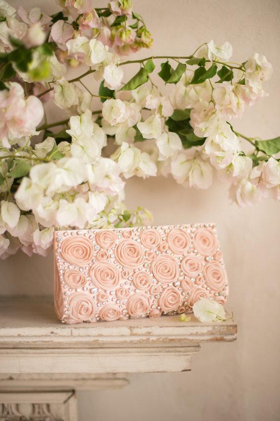 Свадьба - ROSE Floral Bridal Clutch-  Pink Blush Flower & Rhinestone Wedding Handbag from Camilla Christine