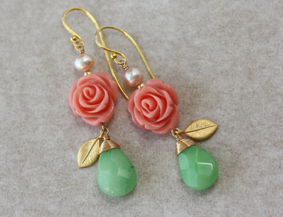 Hochzeit - SALE 15 off -enter coupon code - APRIL15OFF - Rose Garden Earrings -Red Roses, Green Jade and Gold leaves - Spring Easter Mothers Day Gifts