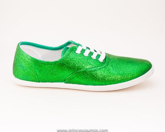 زفاف - Glitter Kelly Green CVO Canvas Sneakers Shoes