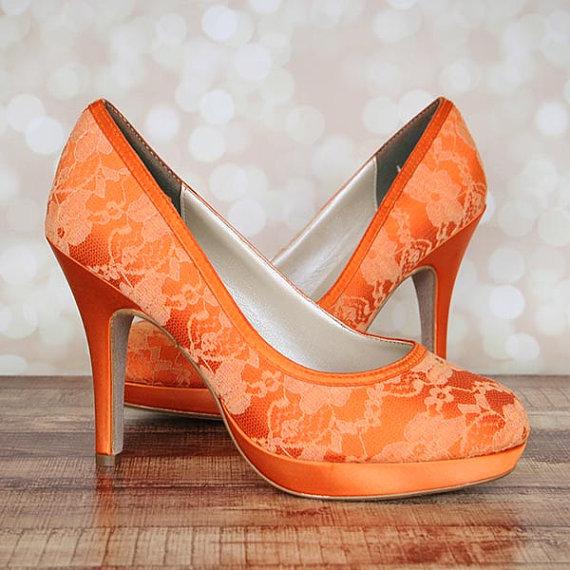 Hochzeit - Custom Wedding Shoes -- Orange Platform Closed Toe  Wedding Shoes with Lace Overlay