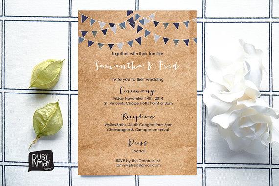 زفاف - Bunting wedding invitation, digital, printed, kraft wedding invitation, rustic bunting, engagement invite, ink, blue, navy, white script