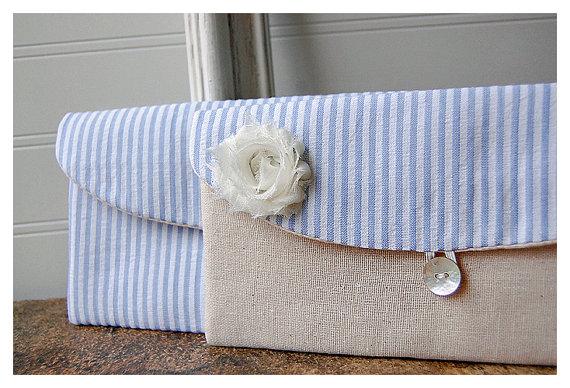Hochzeit - blue clutch purse set 2 clutch purse seersucker Bridesmaid Gift Idea Bridesmaid Clutch beach nautical Wedding Clutch Wedding Party Bridal