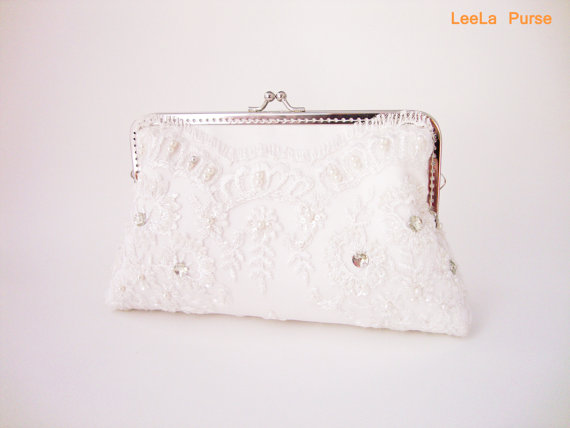 Свадьба - Elegant Wedding White Lace Clutch Purse with Chains / Bridal Accessories /